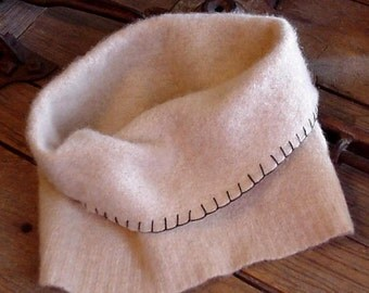 Cashmere Felted Cowl Scarf, Neutral Beige Cream Off-White Upcycled Original Handmade Neck Warmer, Infinity Scarf, Neck Gaiter itsyourcountry