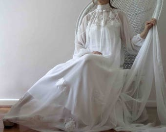 Vintage 70s Boho White Sheer Lace Wedding Dress with Train Small- Large