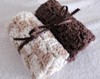 Large Cotton Crocheted Thick Spa Washcloths/Dishcloths from I Love This Cotton Brown, Cream and Beige 10 X 10 Large Oversize Soft Washcloths
