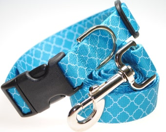 """Turquoise Geometric Collar and Leash Combination - 1"""" Width"""