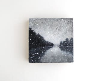 Snowfall Mixed Media Painting - 4 x 4