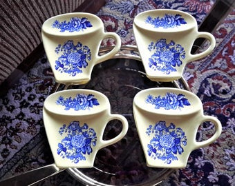 Spode Tea Spoon and Bag Rest Holder Yellow With Blue Floral Pattern Set of 4 Tea Time