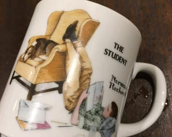 Glass norman rockwell  mug  coffee cup Herbal tea titled the student