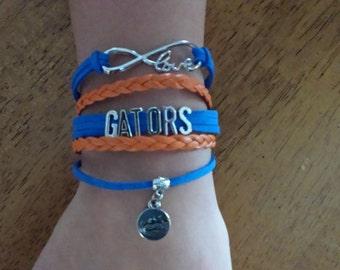 University of Florida Gators Bracelet, Florida Bracelet, Infinity bracelet, Boho Wrap bracelet, Gators Wrap Bracelet, with a Charm