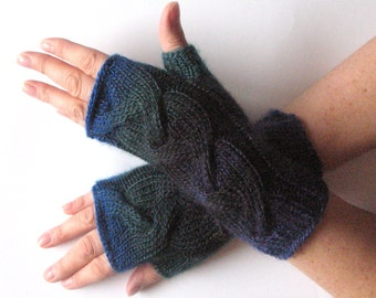 Fingerless Gloves Dark Blue Arm Warmers Knit Soft