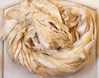 Sari Silk Ribbon in Dyeable Bone Ivory Skeins in 4 Sizes