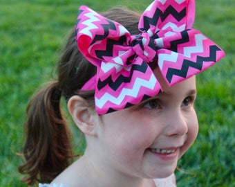 Chevron Headband - Chevron Hair Bow - Chevron Bow Headband
