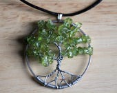 """Custom Peridot&Amethyst Tree of Life pendant / necklace - 45mm / 1.75"""" - with leather necklace"""