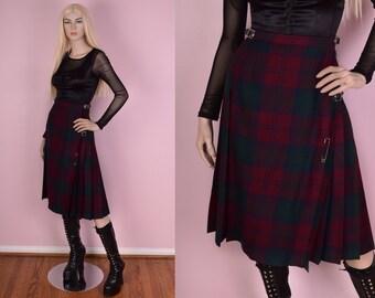 VTG Plaid Wool Pleated Skirt/ 36 Waist/ High Waisted