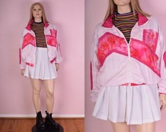 90s Pink Windbreaker Jacket/ Large/ 1990s