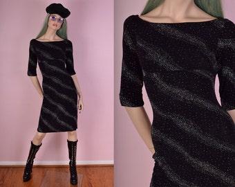90s Rainbow Hologram Glitter Black Dress/ Small/ 1990s/ Party/ Club Dress