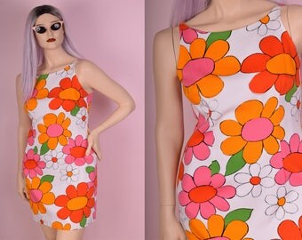 90s Daisy Print Colorful Dress/ US 12/ 1990s/ Tank/ Sleeveless