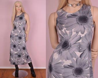 90s Daisy Print Maxi Dress/ Small/ 1990s/ Tank/ Sleeveless