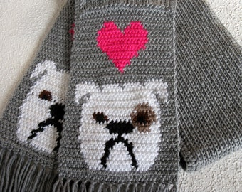 English Bulldog Scarf.  Grey, knit and crochet scarf with white bulldogs and bright pink hearts.