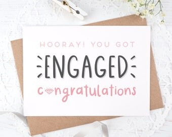 Engagement Card - Congratulations Card - You're engaged! - Wedding card.