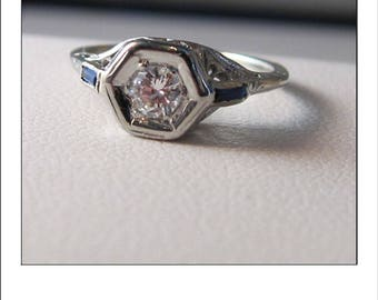 Antique Art deco 18k .13 ct Diamond  Sapphire Filigree Engagement Ring