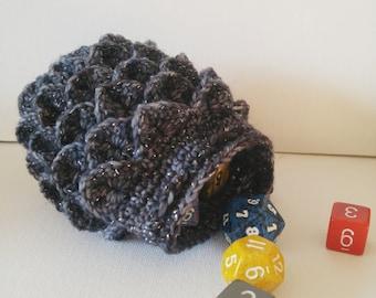 Scale Dice bag sparkle black and gray pouch / crocodile stitch