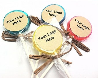 """12 LOLLIPOPS with PERSONALIZED KRAFT Labels and Raffia Ribbon,Wedding Favors, Corporate Events,50+ Flavors to Choose From,""""Your Logo"""""""