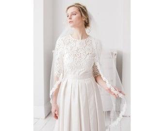 Lace Leaf Wedding Veil, Semi Edge Fingertip Leaf Lace Wedding  Veil, Fingertip length veil