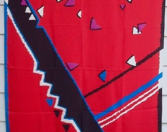 Ginnie Johansen red silk scarf wrap 1980s vintage 40 inches free shipping USA