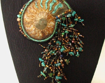 Ammonite nautilus statement necklace inlaid turquoise  pendant wearable art fringe Amber tassel