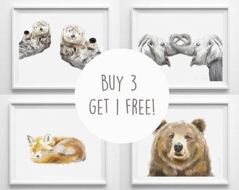 Buy 3 Get 1 FREE - Choose any 4 animal art prints / Nursery Arts / Print Sets / Baby Art / Animal Art / Watercolor Painting / Home Decor