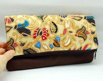 Foldover zipper clutch, zipper pouch, wedding purse, evening clutch, bridesmaid gifts set - Beautiful Foral pattern (Ref. FZ30)