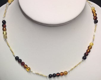 Genuine Baltic Amber Multi-coloured Round Bead Two Tone  Necklace Sterling Silver Gold Plated Sterling Silver Chain Birthday Gift For Her