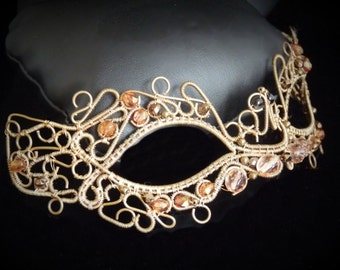 Halloween Venice Carnival Mask - Bronze and glass