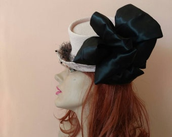 1940s Pink Black Toy Tilt Hat New York Creation