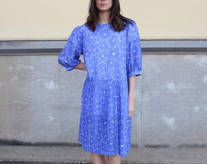 blue white floral retro vintage pleat dress