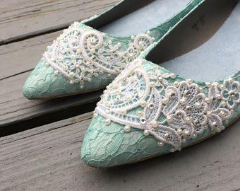 SALE - size 11 Sea glass Lace Bridal Ballet Flats