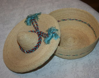 Unique Vintage Mexican Sombrero Hat Basket Latino Hispanic
