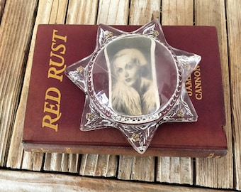 Antique Glass 7 Pointed Star Paperweight