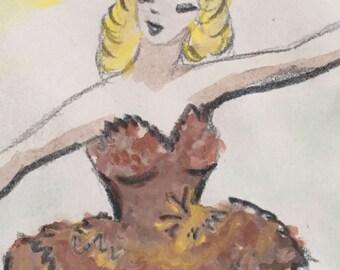 Vintage Ballerina Original Art
