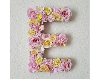 Flower Letter Floral Letter Pink and Yellow Flowers Personalised Wall Hanging Letter Initial Personalized Nursery Decor Baby Shower Art