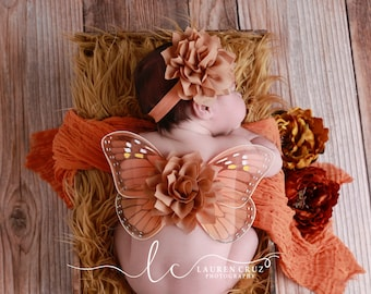 Monarch Butterfly wings, baby wings and/or matching headband for newborn photos, photo prop, newborn photographers by Lil Miss Sweet Pea