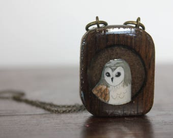 Upcycled owl necklace