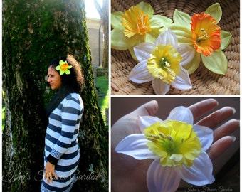 Daffodil hair flower clip, daffodil barrette,  yellow, white, orange