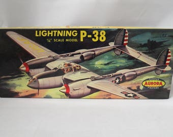 Vintage Aurora Lightning P-38 WWII Fighter Plane Model Kit Unassembled Mint In Box West Hampstead, New York