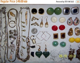 20 OFF SALE, Vintage Jewelry Lot 67. A Bit of Every Color.