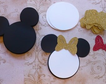 25 Black Minnie Mouse Head Shapes White Circle Shapes Gold OR Red Glitter Bows- Die Cut pieces for DIY Birthday Party Invitations