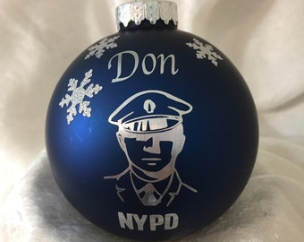 Blue matte finish NYPD glass Personalized Christmas Ornament for our Men and Women in Blue