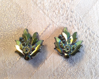 Vintage Carnival Glass, Clip On Earrings, Leaf Shape.