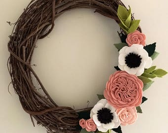 Rose and Anemone Spring Wreath