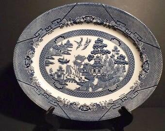 Oval Blue Willow Serving Platter