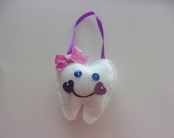 """Handmade Felt TOOTH FAIRY Pillow with Pocket Pink Bow 4""""h x 4""""w"""