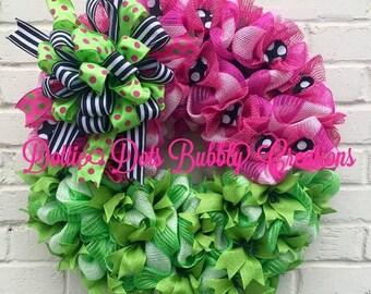 Watermelon Wreath, Summer Wreath, Round Watermelon Wreath, Watermelon Jute Mesh Wreath