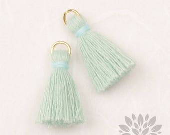 T002-CO-PM// Pastel Mint, Sky Blue Cotton Tassel Pendant, 4pcs, 23mm