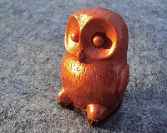 Owl, Free Shipping, Copper Powder Coated Stone With Rubber Bottom
